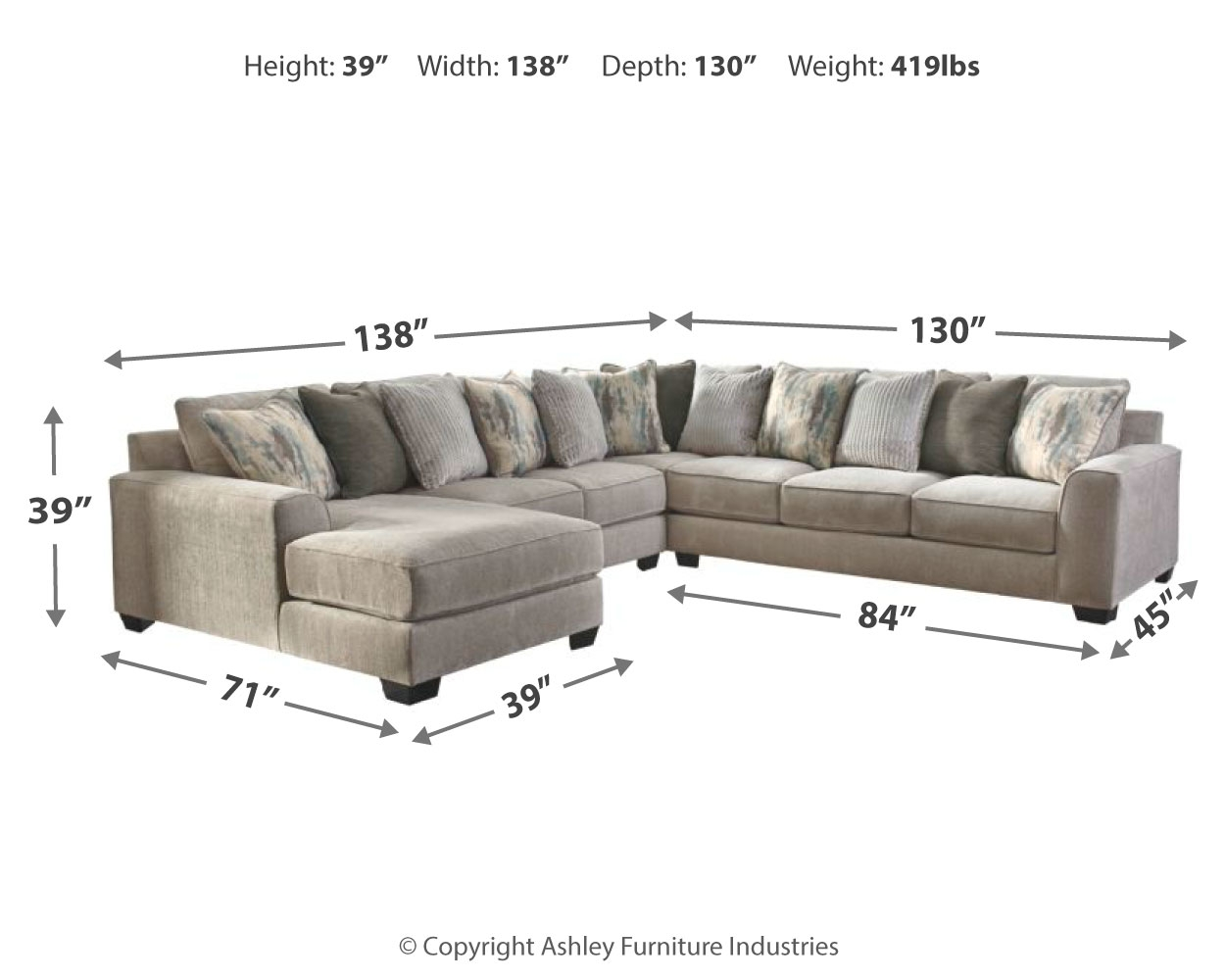 Ardsley 4 Piece Sectional With Chaise By Benchcraft 39504s1 Pierce Furniture Mattress
