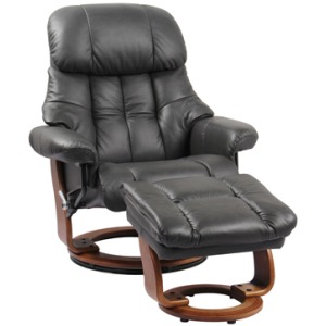 Nicholas II Reclining Chair w/Footrest - Charcoal Grey