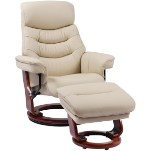 Euro Line Happy Recliner w/Ottoman - Taupe