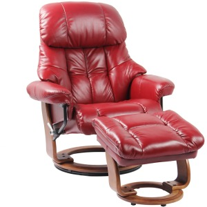 Nicholas II Reclining Chair w/Footrest - Ruby Red