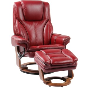 High Line Hana Swivel Recliner w/Ottoman - Ruby Red
