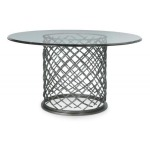 Hallam Metal Dining Table with Glass Top (54