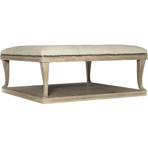 Rustic Patina Upholstered Cocktail Table