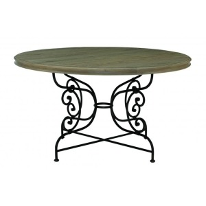 Auberge Round Dining Table Top and Metal Dining Table Base