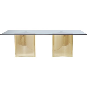 Abbot Metal Dining Table with Glass Top