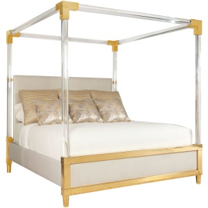 Aiden Acrylic Canopy Upholstered Bed