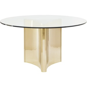 Abbot Round Metal Dining Table with Glass Top