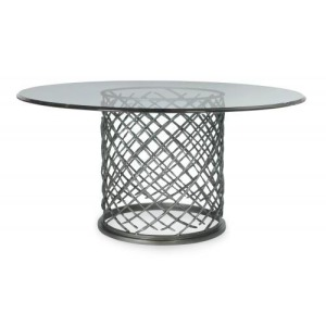 Hallam Metal Dining Table with Glass Top (60