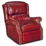 Swivel Glider Leather Recliner with Brass Nails