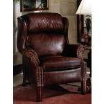 Chippendale Reclining Leather Wing Chair with Brass Nails