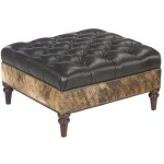 Connelly Leather Ottoman with Brass Nails