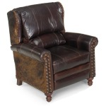 Gunnison High Leg Leather Lounger with Brass Nails