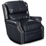 Mason Swivel Glider Leather Recliner with Brass Nails