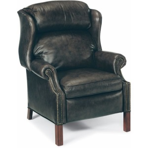 Chippendale Leather Reclining Wing Chair