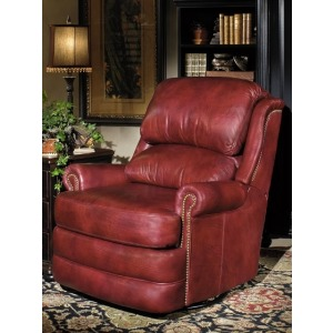 Brock Wall-Hugger Leather Recliner with Brass Nails