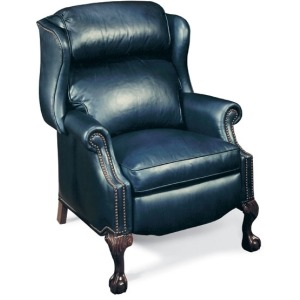 Presidential Reclining Leather Wing Chair with Brass Nails