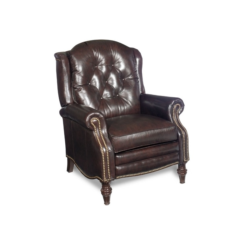 Victoria High Leg Leather Lounger with Brass Nails
