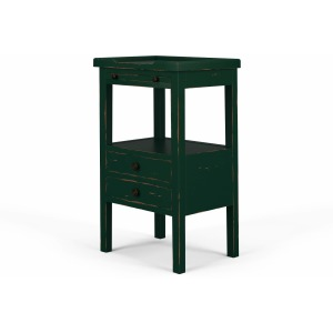Eton 2 Drawer Side Table W/ Pull Out Shelf - Forest