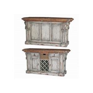 Roosevelt Kitchen Island W/ Corbels And Baskets