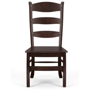 Peg & Dowel Ladder Back W/ Wooden Seat - Teak Brown
