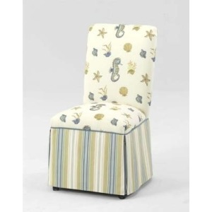 Fabric Skirted Dining Chair - Two-toned