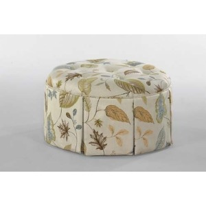 Fabric Small Round Ottoman With Casters