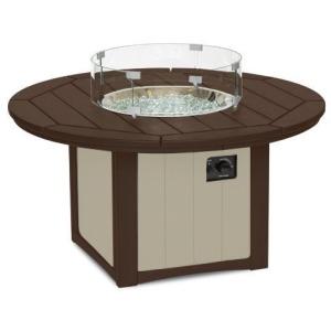 """Elementz Fire & Ice Table, 48"""" Round - Mocha & Sandstone"""