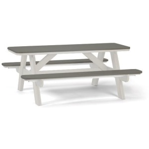 6' Picnic Table with Umbrella Hole - White Grey