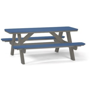 6 Foot Picnic Table - Gray & Colonial Blue