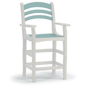 Avanti Counter Captain's Arm Chair - White & Seaglass