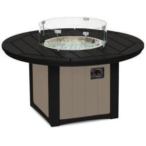 "Elementz Fire & Ice Table, 48"" Round - Black & Weatherwood"