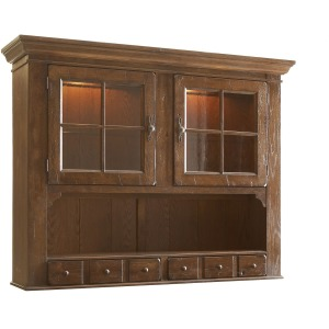 Attic Heirlooms China Door Hutch, Rustic Oak
