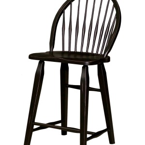 Attic Heirlooms Windsor Counter Stool, Antique Black