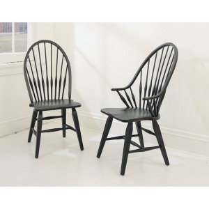 Attic Heirlooms WINDSOR SIDE CHAIR / ANTIQUE BLACK