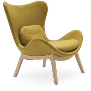 Lazy PU foam design armchair with wooden base