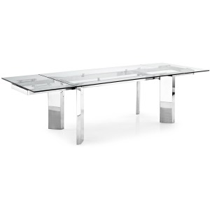 Tower Glass and metal extending table