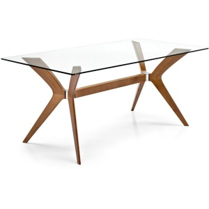 Tokyo Glass and wood rectangular table