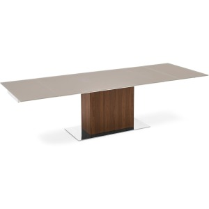 Park Glass Extra-long extending table in wood and glass