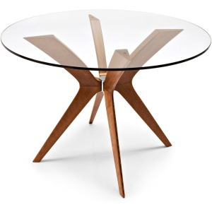 Tokyo Glass and wood round table