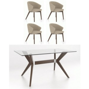 Glass Top Table & 4 Chairs
