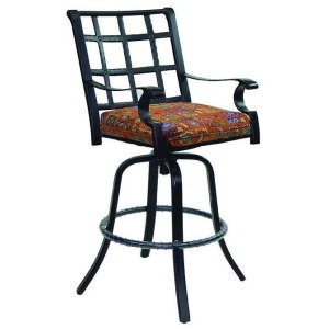 Cast Swivel Bar Stool With Seat Cushion