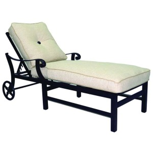 Adjustable Cushioned Chaise Lounge With/Wheels