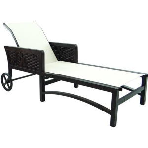 Adjustable Sling Chaise Lounge With/Wheels