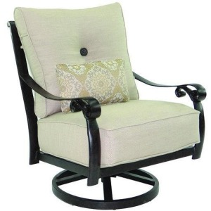 High Back Cushioned Lounge Swivel Rocker With/One Kidney Pillow