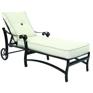 Adjustable Cushion Chaise Lounge With/Wheels