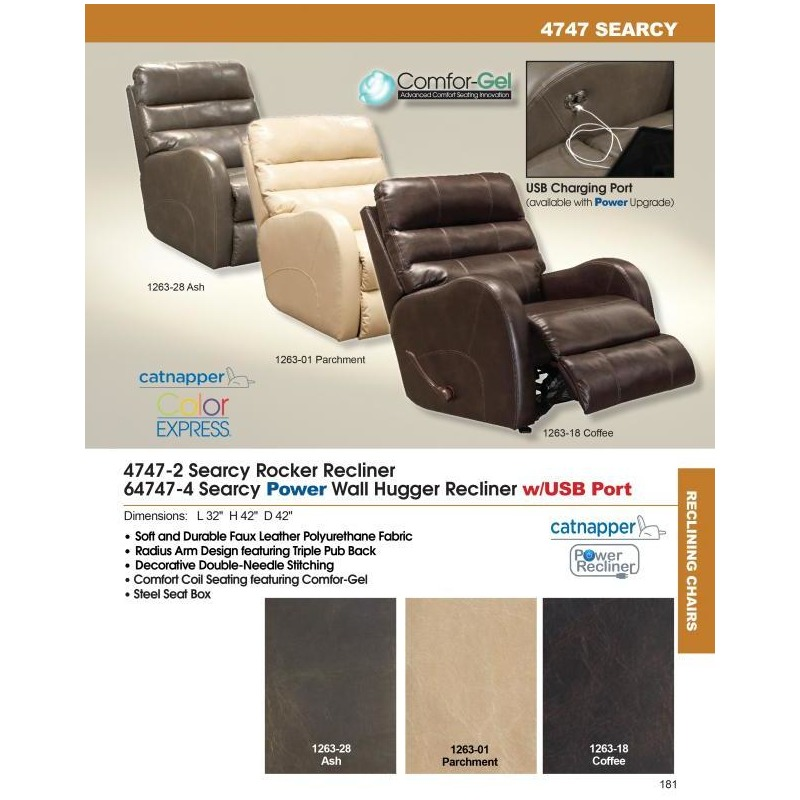 Power Wall Hugger Recliner w/USB Port