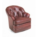 Century Leather Horseshoe Swivel Chair