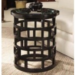 Metro Luxe Collection CHAIRSIDE TABLE WITH GLASS INSERT TOP