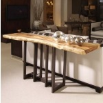 Milan Collection NATURAL EDGE SLAB CONSOLE WITH BRONZE FINISHED BRASS BASE