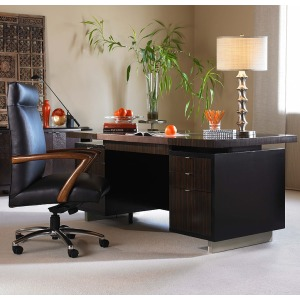Century Office Seven Drawer Desk With Black Leather Top